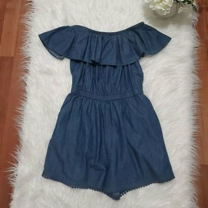 Off Shoulder Blue Shorts Jumper Medium Romper
